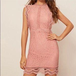 Pink crochet lace dress